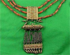 Antique Gilded Silver Yemen Wedding Necklace Amulets Granulated Beads ...