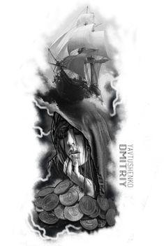 Tattoo artist Yavtushenko Тату студия в Украине #tattoo #tattooukraine #tattooyavtushenko #tattoodp #tattooartist #tattooworld #flashtattoo #blackwork #blackgraytattooflash #shiptattooflash #shiptattoo #goldtattoo #besttattooartist