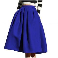 Face N Face Women's High Waisted A line Street Skirt Skater Pleated... ($20) ❤ liked on Polyvore featuring skirts, pleated skater skirt, blue midi skirt, high waisted skater skirt, blue pleated skirt and high-waist skirt