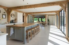 Since 1980 Border Oak have specialised in the design and construction of exceptional bespoke oak framed buildings across the UK and abroad Open Plan Kitchen Dining Living, Barn Kitchen, Living Room Kitchen, Home Decor Kitchen, Kitchen Interior, Long Kitchen, Barn Conversion Kitchen, Barn Conversion Interiors, Oak Framed Extensions