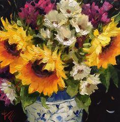 "Daily Paintworks - ""Sunflowers & Daisies"" - Original Fine Art for Sale - © Krista Eaton"