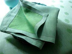 #LinenWay #Linen #Napkin #Green Blue Napkin #LinenNapkin #DinnerNapkin #Hemstitch #Modern