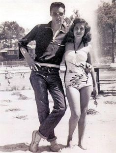 May, 1953: Elvis and classmate Rosemary Baracco at Maywood Beach; a water park located in Olive Branch, Mississippi, just across the state line from Memphis. (Closed 2003)