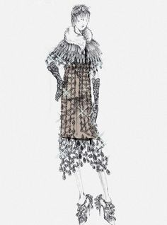 Carey Mulligan as Daisy from 'The Great Gatsby.' The inspiration for the dress came from the Prada S/S 2010 collection and was reprised for the movie. Left: picture of Carey Mulligan featured in L'Officiel Paris April 2013. Right: Sketch of the crystal chandelier dress worn by Carey's character Daisy sketched by Miuccia Prada.
