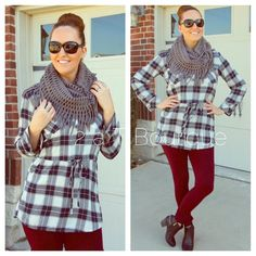 Plaid belted dress DO NOT buy this listing, comment below to make sure I have your size available and I will make you a personal listing   Plaid belted tunic dress. Color: navy/white. Available in size S(2-4) M(6-8) L(10-12). TK1575201. Get the whole look when you bundle these with the grey infinity scarf and wine leggings  2 a T Boutique  Dresses