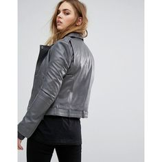 Muubaa Argal Leather Biker Jacket ($285) ❤ liked on Polyvore featuring outerwear, jackets, leather biker jacket, tall motorcycle jacket, leather blazer, leather blazer jacket and motorcycle jacket
