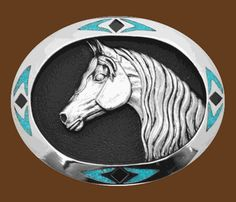 Horse Head Feathers Oval Belt Buckle Glossy Red Design
