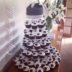 Black and white Cupcake Towers, Advent Calendar, Black And White, Holiday Decor, Home Decor, Black White, Homemade Home Decor, Blanco Y Negro, Decoration Home