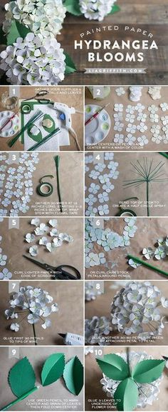 Paper Hydrangea tutorial - How to make paper flowers, a Paper flowers diy tutorial round up.  Make Her Some Fabulous Mothers Day Flowers That Last Forever!