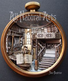 New Library Pocket Watch sculpture by All Natural Arts. (Everything is made from antique watch parts!)