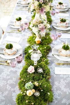 Garden Theme For Your Spring Wedding Forest Wedding, Woodland Wedding, Garden Wedding, Rustic Wedding, Party Garden, Woodland Fairy, Rustic Tea Party, Whimsical Wedding Theme, Wedding Greenery