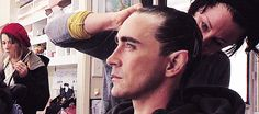 Lee Pace in the makeup chair for his character Thranduil in The Hobbit: The Desolation of Smaug, 2013.