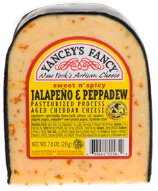 Jalapeno & Peppadew Cheddar- A world champion, award winning combination of cheddar cheese flecked with sweet and tangy peppadew peppers and zesty jalapeno peppers.