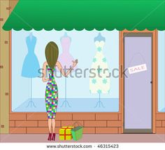 stock vector : woman and dresses at shop window