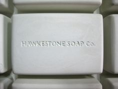 "Hawkestone Soap Co. Soap Bar Plaster Prototype. Rectangle soap bar, slightly rounded edges, 3.25"" long x 2.125"" wide x 1.125"" thick. Company located in Ontario, Canada. www.hawkestonesoapco.com"