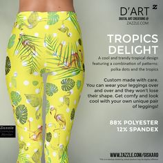 "TROPICS DELIGHT... ""A cool and trendy tropical design featuring a combination of patterns: polka dots and the tropics""...  #tropical, #tropics, #dots, #polkadots, #selvatic, #jungle, #wild, #flamingo, #leaf, #plants, #nature, #island, #hawaii, #garment, #wardrobe,#fashion, #fashionable, #urban,#urbanfashion, #summer #leggings #womenleggings #artofwhere #zazzle #zazzler #zazzleshop #digitalartcreations"