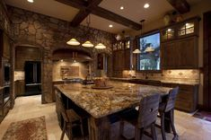 rustic kitchen island design tuscan kitchen stone wall ideas