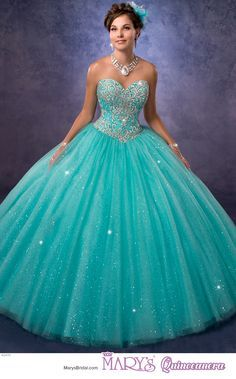 Princess style 4Q470 • Strapless quinceanera ball gown with sweetheart neck line, lace and bead embellished bodice, sparkling tulle skirt, lace-up back, and sheer bolero.