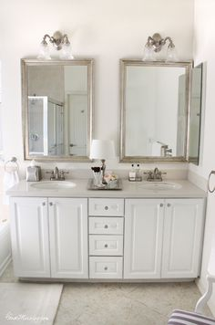 Glamorous silver, white, and sparkly master bathroom update. Walls: Sherwin Williams White Flour