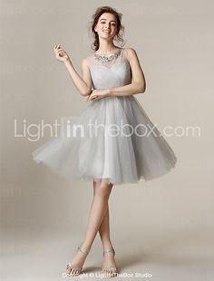 Lanting Bride® Knee-length Tulle Bridesmaid Dress - Mini Me A-line / Princess Jewel Plus Size / Petite withAppliques / Beading / Crystal 2016 - $71.99