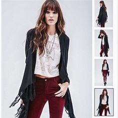Open knit fringe cardigan Brand new gorgeous cardigan! Long with fringe detailing. Black knit fabric. Perfect with any outfit! Forever 21 Tops