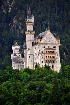 Neuschwanstein Castle near Forggensee reservoir (circa 1952) in Bavaria, Germany. This is My favorite castle. [TRK]