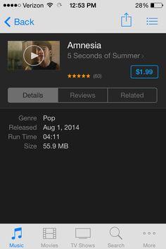 THE AMNESIA MUSIC VIDEO IS IN ITUNES. I REPEAT: THE AMNESIA MUSIC VIDEO IS IN ITUNES!! :):):)<<<<<<< OMGOMGOMGOMGOMGOMG AHHHHHHHHH