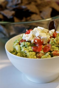 guacamole with feta cheese dip - take your favorite guac dip and add 6 oz of feta - taking guac to another level - that cheese may be Gouda but this one is Feta!