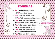 Lu Concursos: FONEMAS E ALGUNS SONS Portuguese Grammar, Learn Brazilian Portuguese, Canal E, Study Notes, Professor, Bullet Journal, Education, Learning, School