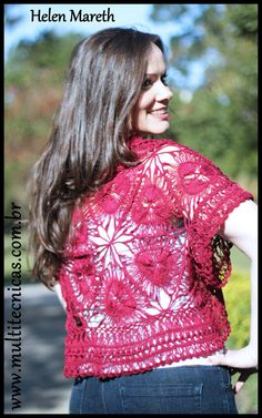 Bolero em triangulos de crochê de grampo Hairpin lace - horquilla  Receita gratuita no site  www.multitecnicas.com.br