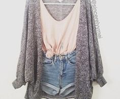 Flowy cardigan with short and tie up top. Taking a revealing outfit to a more conservative look.