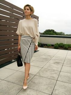 Update your look with a striped wrap skirt.