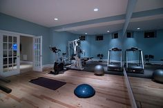 Exercise/Dance Room, love the french doors with glass, mirrors and floor.