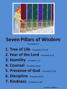 Seven Pillars of Wisdom: Wisdom gives believers hope and a future consistent with God's purpose. In Proverbs, Solomon identified seven pillars for godly wisdom. These pillars are meant to carry the load equally. If any of the pillars are missing or broken, the whole is weakened. This post explains the seven pillars to help believers be firmly established in godly wisdom.
