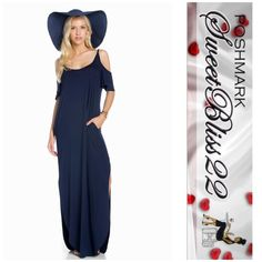 ️Now Available Navy Cold Shoulder Maxi Simply gorgeous cold shoulder maxi! Must have item this Spring! Comes in navy,gray, and black. Don't miss out!! Small measures 20 inches laying flatMedium measures 21 inches laying flatLarge measures 22 inches laying flat XL measures 24 inches laying flat Dresses Maxi