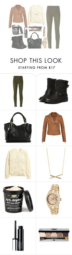 """""""just come home after shopping"""" by danaceciliamonroe ❤ liked on Polyvore featuring J Brand, Miss Selfridge, H&M, Rolex, Clinique and Bobbi Brown Cosmetics"""