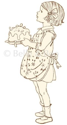 Lets have some tea and cake! A perfect little piece of nostalgic innocence to decorate your kitchen wall. Featuring the illustration I Baked This. Belle Y Boo, Children's Book Illustration, Drawing For Kids, Vintage Pictures, Doodle Art, Cute Drawings, Paper Dolls, Painting & Drawing, Embroidery Patterns