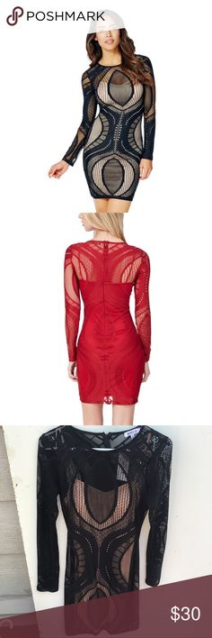 🆕Listing! Long Sleeve Lace Bodycon Sexy lace bodycon dress! Just what your wardrobe needs! NWT! Selling for my sister; price firm unless bundled!♥️  💠20% off of 5 or more listings! Bundle and offer 20% less and I will accept!💠 JustFab Dresses