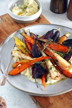 After the Holidays let's load up on healthy food! For the beginning of this year here is a light, delicious, healhty and crunchy meal - maple roasted vegetables with parsnip puree - restaurant style! #vegetables #veggies #vegan #healthy #Newyearsresolution #healhtyeating #homechef Healthy Holiday Recipes, Vegetarian Recipes Dinner, Delicious Vegan Recipes, Oven Vegetables, Roasted Root Vegetables, Veggies, Roasted Vegetable Recipes, Veggie Recipes, Parsnip Puree
