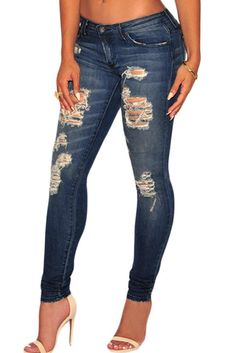 Dark Wash Sunblast Ripped Jeans