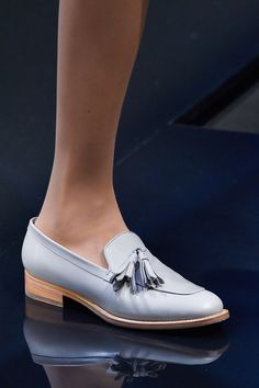 Max Mara. sleek and elegant loafers, love the unique periwinkle pastel shade