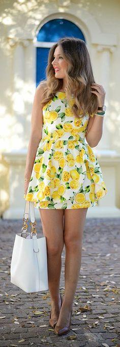 LEMONS - Mi Aventura Con la moda...too short but love love love this fabric and dress...