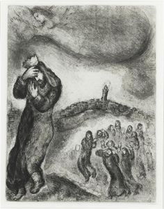 Marc Chagall - 1956, driven from jerusalem by rebelled again absalom, david, barefoot, climbed to the hill of olives.