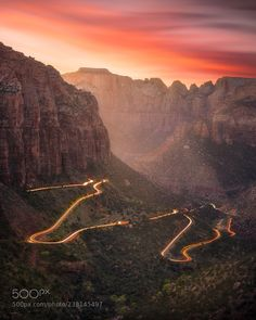 Sunset at Zion NP by mindzeye