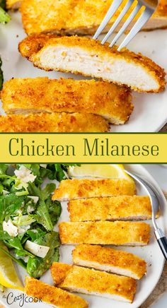 This Chicken Milanese Recipe has an amazing flavor that tastes like it's from a fancy restaurant! Made with an extra crispy Parmesan breadcrumb topping and served with lemon and a healthy Arugula salad. Add Parmesan shavings and your favorite pasta for an easy dinner idea that will impress your family!