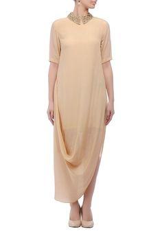 Beige collar-embellished dress