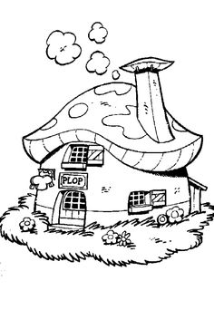 Coloring Pages Mushroom House By Catherine Chernyakova Via