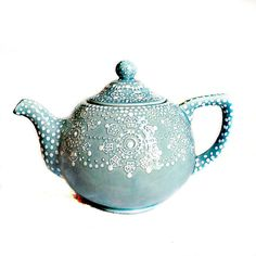 Blue Teapot -  Blue Lace Tea Pot - Shabby Chic Tea Pot - Gift for Her - Cottage…