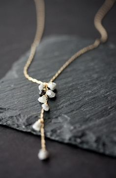 Rough Diamond and Black Diamond Cascade Necklace 14kt by LexLuxe - would love if all the diamonds were white... To match the earrings. :)