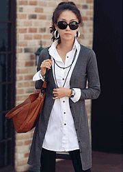 mailey ribbed long button up cardigan  CODE: NAKC1-1006  Price: SG $49.85 (US $40.20)